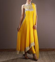 Yellow Georgette Anarkali Suit With Gota Patti Work
