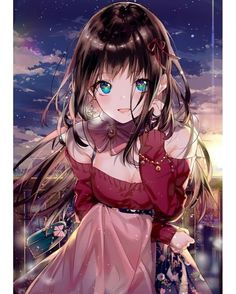 ♡~*ANiME ART*~♡ stylish girl - off the shoulder sweater - floral skirt - jacket - collar - ribbons - jewelry - long hair - earring - smile - night sky - sunset - sparkling - cute - moe - kawaii Manga Kawaii, Loli Kawaii, Kawaii Anime Girl, Fan Art Anime, Anime Artwork, Anime Art Girl, Anime Girls, Anime Chibi, Chica Anime Manga