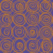 """Jardin Loco-orange on royal swirls""""-fabric by Groovity-available at Spoonflower.com, designed by Mary Tanana"""