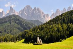 The Church of St. Johann in front of the view of the group delle Odle, recently declared World Heritage of 'humanity of the UNESCO. Photo by Angelo Ferraris