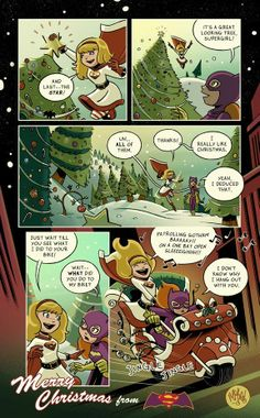 Batgirl and Supergirl celebrate Christmas