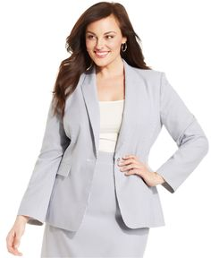 Tahari ASL Plus Size One-Button Seersucker Jacket - Shop All Suits & Suit Separates - Plus Sizes - Macy's