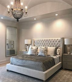 Mirror, DIY idea Mirrored Bedroom Furniture, Gray Bedroom Decor, Glam Master Bedroom, Budget Bedroom, Couple Bedroom Decor, Soft Grey Bedroom, Bedroom Bed, Bedroom Colors, Cozy Bedroom