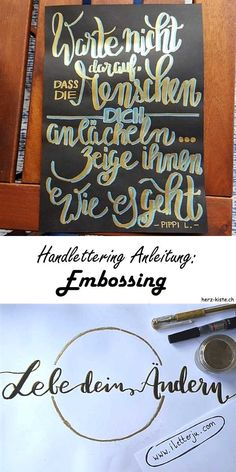 Letter Lovers: tante_ju zu Gast With this handlettering instruction you can easily find out how the embossing (with powder and hair dryer) works in writing. Lettering Guide, Brush Lettering, Hand Lettering, Calligraphy Quotes, Calligraphy Letters, Scrapbook Letters, Me Quotes, Motivational Quotes, Planner Doodles