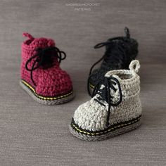 The Doctor Is In … These Baby Doc Martens are Fun and There's Even a Crochet Pattern! The Doctor Is In … These Baby Doc Martens are Fun and There's Even a Crochet Pattern! Crochet Boots, Crochet Slippers, Cute Crochet, Crochet For Kids, Knit Crochet, Crochet Baby Boots Pattern, Crochet Style, Baby Doc Martens, Baby Booties