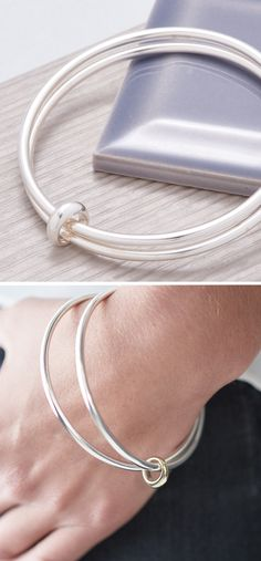 Eclipse Silver Double Bangle - List of the best jewelry Solid Silver Bangles, Silver Necklaces, Sterling Silver Earrings, Silver Rings, 925 Silver, Charm Necklaces, Silver Bangle Bracelets, Charm Bracelets, Bracelets En Argent Sterling