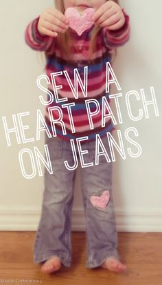 Sew a Heart Patch on Jeans -  Mad in Crafts