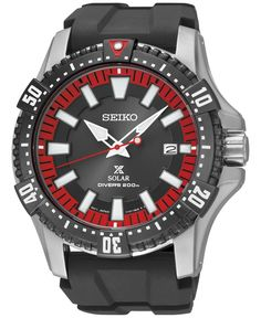Seiko Men's Prospex Solar Diver Black Polyurethane Strap Watch 44mm SNE383