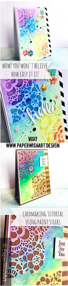 Use paint sticks to make two cards in one go (and a giveaway) - PaperWishArt