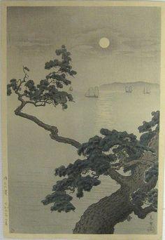 TSUCHIYA Kōitsu(土屋 光逸 Japanese, 1870-1949)    Akashi Beach   明石の濱 1934    woodblock print