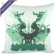 "Cotton-linen pillow with an ink blot design. Handmade in the USA.   Product: PillowConstruction Material: Cotton and linen blendColor: Green and whiteFeatures:  Handmade by TheWatsonShop Insert includedEnvelope enclosureMade in the USA Dimensions: 16"" x 16""Cleaning and Care: Dry clean only"