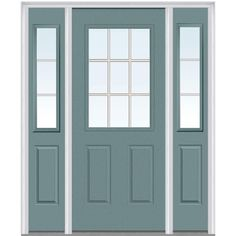 Milliken Millwork 64.5 in. x 81.75 in. Classic Clear Glass GBG 1/2 Lite 2 Panel Painted Fiberglass Smooth Exterior Door with Sidelites, Riverway
