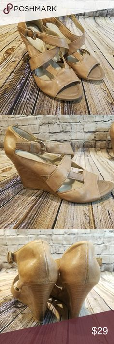 """Franco Sarto The Artist's Collection Leather Wedge Franco Sarto brand From The Artist's Collection  Leather Strappy Sandal wedge  Approximately 3"""" heel Buckle closure on cross strap  Worn a few times, kept in closet Size 8.5 Franco Sarto Shoes Wedges"""