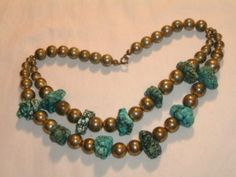 Vintage chunky beaded turquoise necklace