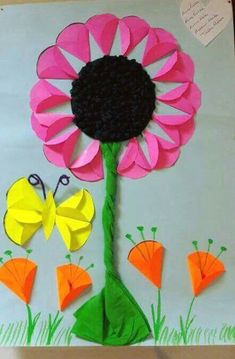 Trendy Ideas Flowers Crafts For Preschoolers Learning Paper Flower Art, Paper Flowers Diy, Flower Crafts, Creative Activities For Kids, Diy Crafts For Kids, Art For Kids, Spring Art Projects, Spring Crafts, Bible School Crafts