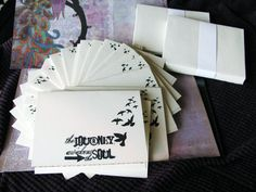 50 Hand Stamped Cards with Torn Edges and by EternalJournals, $45.00