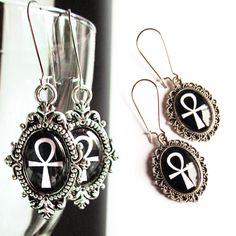 Ankh Earrings Gothic Earrings Dangling Ankh Earrings by Lumissa