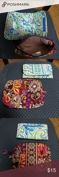 Vera Bradley wallet and make up bag One is a wallet and the other has a liner so it can be used as a makeup bag used  but are in good condition make offer ☺️ comes from a smoke free home Vera Bradley Bags Wallets