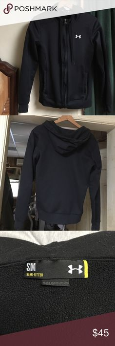 Under Armour Jacket SM Women's under armor jacket great condition black size is small medium fits more like a medium two front pockets and 2 large inside pocket I am a size 10 and it is snug on me Under Armour Jackets & Coats