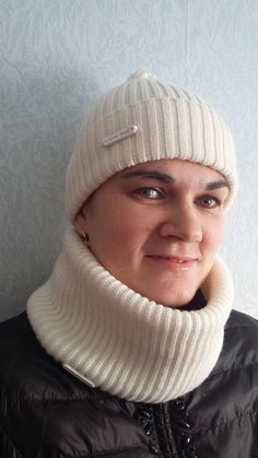 white scarf  cap cap knitted snood scarf set cap and scarf