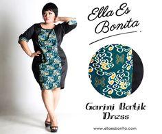 Garini Batik Dress - This bodycon batik dress features high quality stretch twill and batik cotton, polyesther batik cotton, and silk batik which specially designed for sophisticated curvy women originally made by Indonesian Designer & Local Brand: Ella Es Bonita. Available at www.ellaesbonita.com
