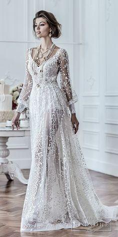 maison signore 2018 bridal long sleeves v neck full embellishment elegant a line wedding dress open back sweep train (drusilla) mv fv -- Maison Signore's Stunning 2018 Wedding Dresses