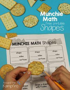 Munchie Math Shapes free printable