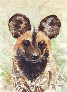 "african wild dog sculptures | African Wild Dog - Watercolour on Ashrad 200gsm - 8.5"" x 12"""