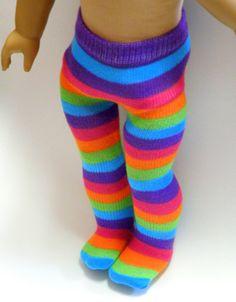 AMERICAN GIRL TIGHTS: Rainbow Stripes.