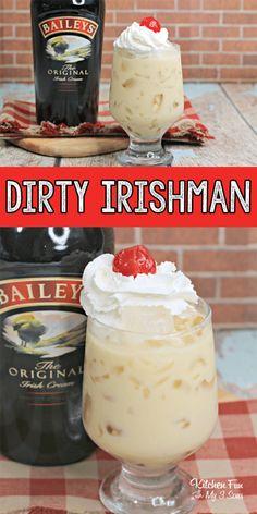 If you love Baileys Irish Cream any way we can get it, this Dirty Irishman cocktail is just about as good as it gets. If you love Baileys Irish Cream any way we can get it, this Dirty Irishman cocktail is just about as good as it gets. Baileys Drinks, Baileys Recipes, Liquor Drinks, Irish Recipes, Baileys Alcohol, Coffee Drinks, Refreshing Drinks, Fun Drinks, Yummy Drinks