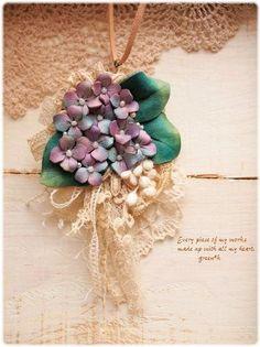 * 【sold out】 (パープル)ふわふわ紫陽花いっぱいの3wayネックレス