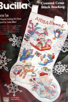Bucilla Stocking Kit Cross Stitch Winter Fun Snowman Bunny Bear Penquin Xmas Vtg…