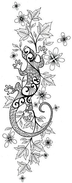 Flowers And Lizard Tattoo Sketch                              …
