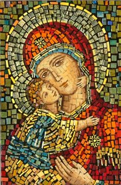 Polish Art Center - Matka Boska Wlodzimierska - Our Lady of Wladimir Mosaic Icon - Project Religious Icons, Religious Art, Mosaic Tile Art, Mosaic Mirrors, Stone Mosaic, Mosaic Portrait, Blessed Mother Mary, Mary And Jesus, Byzantine Art
