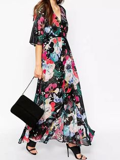 Multicolor Wrap V-neck Floral Half Sleeve Maxi Dress | Choies