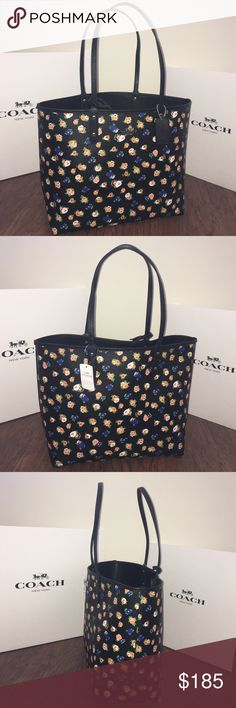 """💖WOW💖COACH Terse Reversible City Tote Guaranteed Authentic! Coach F57668 Terse reversible city tote in black and multicolor flower design. Flower charm/keychain NOT INCLUDED in this listing. Silver tone hardware. Shoulder straps with 9.5"""" drop. Removable zip-top pouch 9"""" x 6"""". Measurements: 13.5""""L x 11.5""""H x 6.25""""W. Item will be videotaped prior to shipping to ensure proof of condition. Coach Bags Totes"""