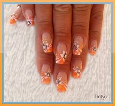 Scents of summer flowers by Lnetsa - Nail Art Gallery by Nails Magazine - nail art galleries Fingernail Designs, Cute Nail Designs, Acrylic Nail Designs, Acrylic Nails, Nail Art Orange, Orange Nails, Fancy Nails, Cute Nails, Pretty Nails