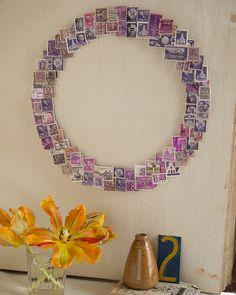 Postage Stamp Wreath - http://www.sweetpaulmag.com/crafts/postage-stamp-wreath #sweetpaul