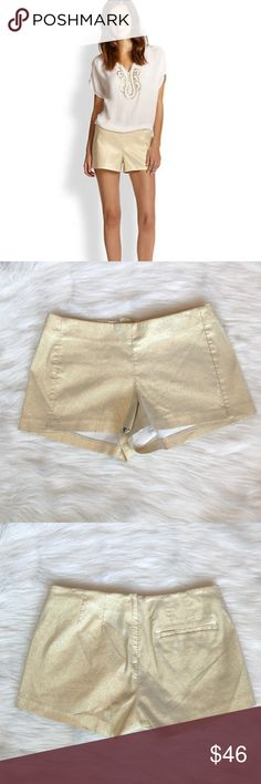 """LILLY PULITZER ✨ shimmery gold shorts LIKE NEW! LIKE NEW! LILLY PULITZER gold metallic shorts. How fun are these shorts?! These LP metallic """"Liza"""" shorts are super chic. If U want shorts that are more on the dressy side, go metallic. Wear these shorts with heels & a lightly sparked top to a spring/summer concert or a nice dinner out. Add a little glam to your spring/summer look.  No flaws, but does have wrinkles from being folded can be easily ironed/steamed out. Like New. All reasonable…"""