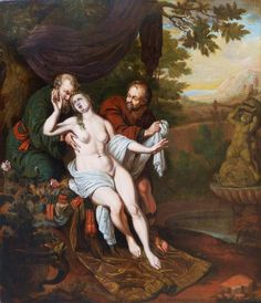 Frans van Mieris the Elder (1635-1681) - Susanna and the Elders {this was used in Hitchcock's Psycho}