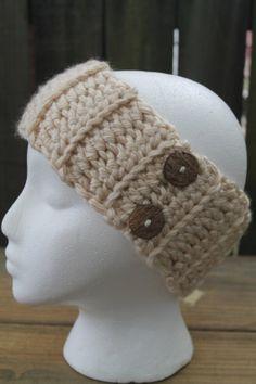 Light Tan/ Cream Chunky Ribbed Crochet Headband Earwarmer With Buttons, Ready To Ship on Etsy, $14.00