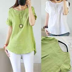 Women Girl Popular Short Sleeve Linen Stand Collar Blouse Shirt Casual is part of Blouse designs - Blouse Styles, Blouse Designs, Short Kurti Designs, Baggy Tops, Women's Tops, Embroidery Suits Design, Collar Blouse, Shirt Blouses, Plus Size Outfits