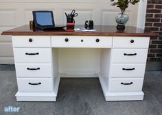 Desk Makeovers - Redo mirrored dresser like this maybe?
