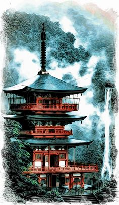 Japanischer Tempel - Moku Make old school . - Japanischer Tempel – bauen alte Schule Sie sind an - Japanese Temple Tattoo, Japanese Tattoo Art, Asian Landscape, Fantasy Landscape, Japanese Artwork, Japanese Painting, Japanese Prints, Samurai Artwork, Japan Illustration