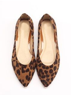 Leopard Print Faux Suede Pointed Flat Shoes