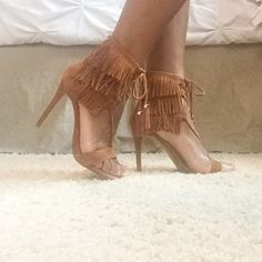 Mother's Day Sale Sexy Fringe Heels!!! Super cute and trendy fringe heels that lace up front and zips up the back!!  These were recently unlisted but I decided to realist them!! Make me an offer! Steve Madden Shoes Heels