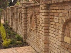 Brick Wall Gardens, Brick Garden, Brick Fence, Front Yard Fence, Brick Design, Fence Design, Compound Wall Design, Brick Columns, Brick Works