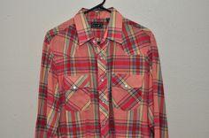 Vintage Pearl Snaps VIP Plaid Western Rodeo Shirt Mens L Pink EUC  #VIP #Western