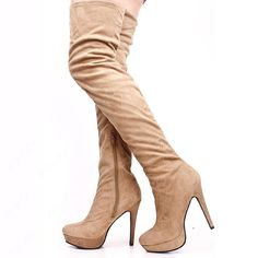 styling Concise Apricot Suede Stiletto Heels Knee High Boots