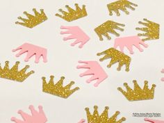 Pink and Gold Confetti Custom Colors It's A Girl Baby Shower Decoration Crown Glitter Princess Party Decor by AshleyAnnaMarie on Etsy https://www.etsy.com/listing/233748978/pink-and-gold-confetti-custom-colors-its